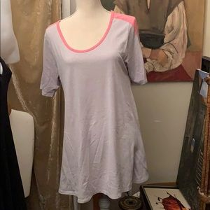 LuLaRoe top large grey pink trim